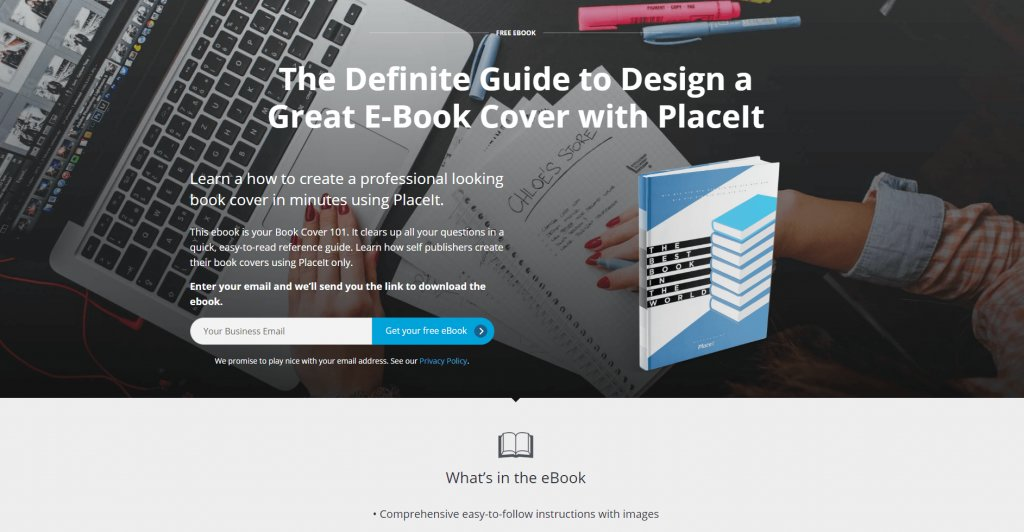 Landing Page Mockup Featuring A Placeit Ebook Cover