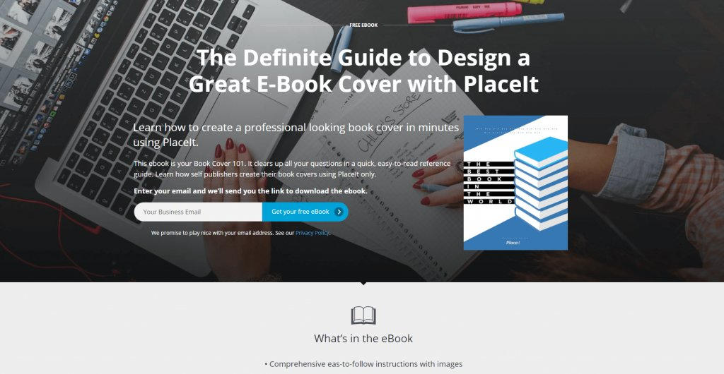 Landing Page Mockup Featuring A Non Professional Ebook Cover