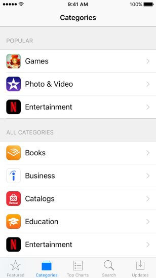 app category metadata ios