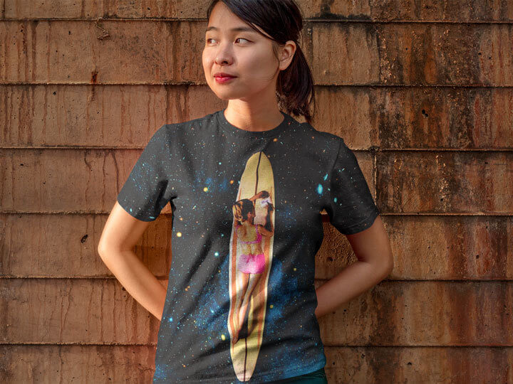"""Plaedian Surfer"" Art Piece on a All-Over Tshirt (Mockup Made With Placeit)"