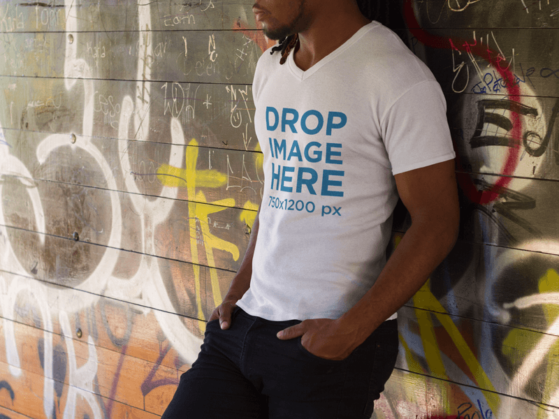 Young Black Man Wearing a V-Neck T-Shirt Mockup