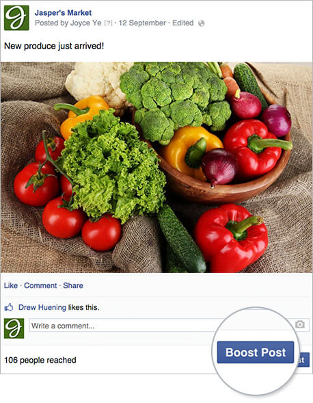 boost post facebook screenshot
