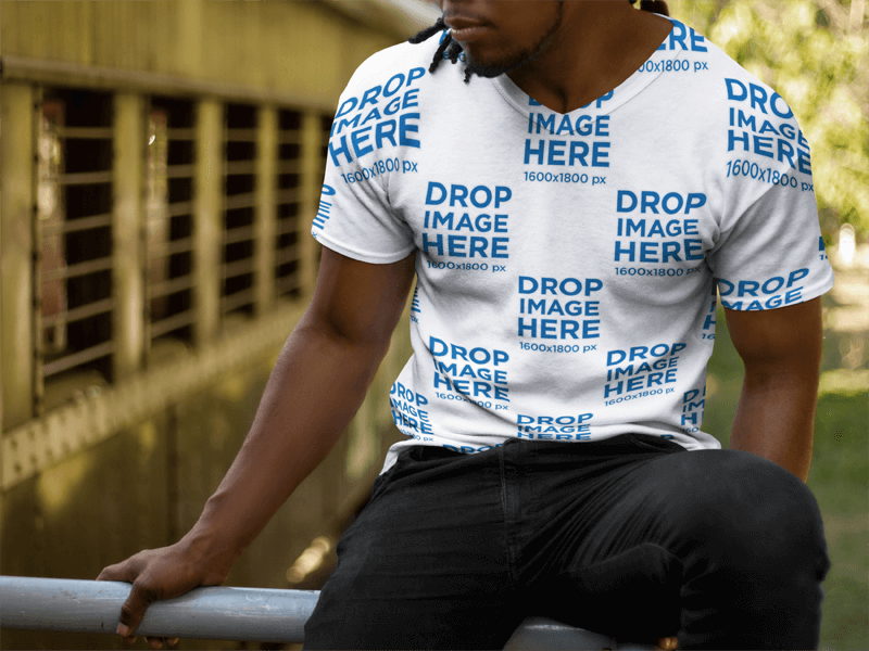 Mockup of a Young Black Man With Dreadlocks Wearing a V-Neck T Shirt