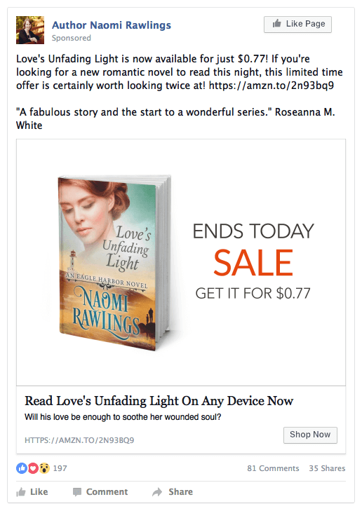Facebook Ad Example of a Book