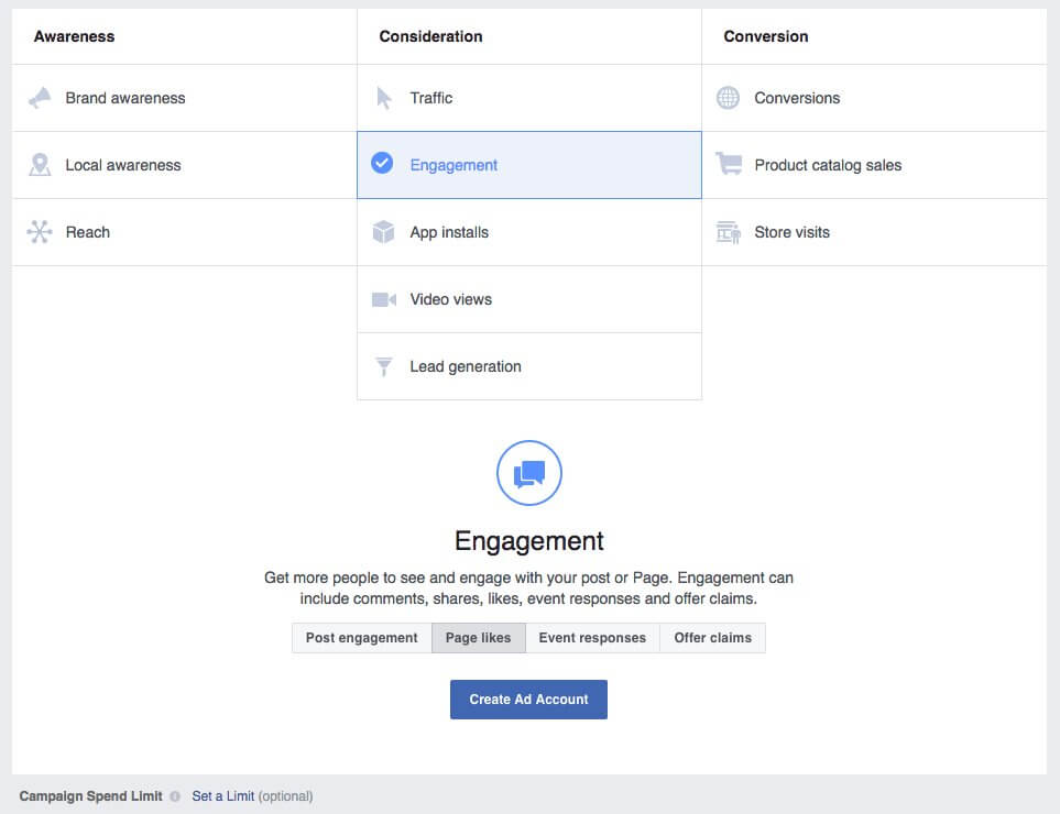 facebook marketing campaign options