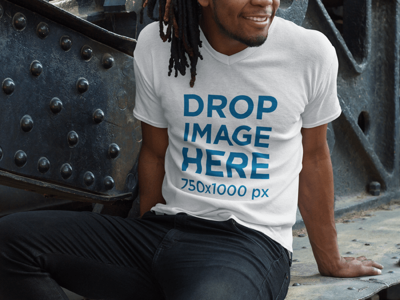 V-Neck T-Shirt Mockup of a Smiling Black Man With Dreadlocks Sitting