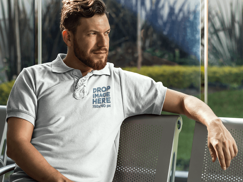 Collar Shirt Mockup Featuring a Man Sitting on a Bench