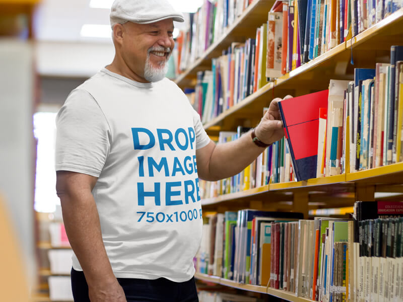 Plus Size T Shirt Mockup Man In Library Optimised