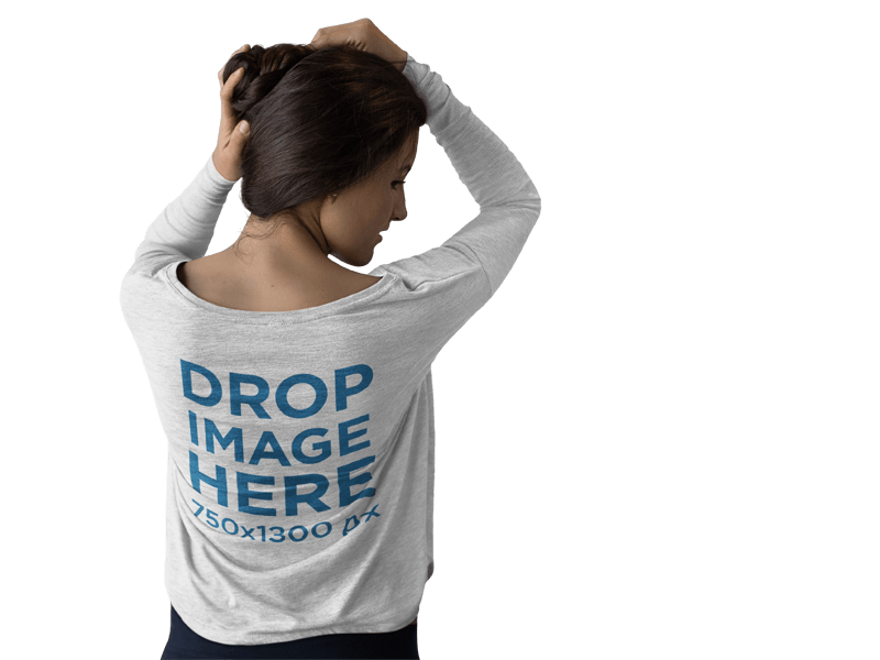 Long Sleeve T-Shirt Mockup of a Girl Grabbing her Hair