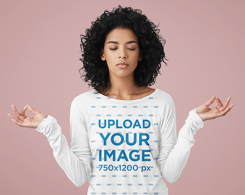 Long Sleeve Tee Mockup Featuring A Woman Meditating In A Studio
