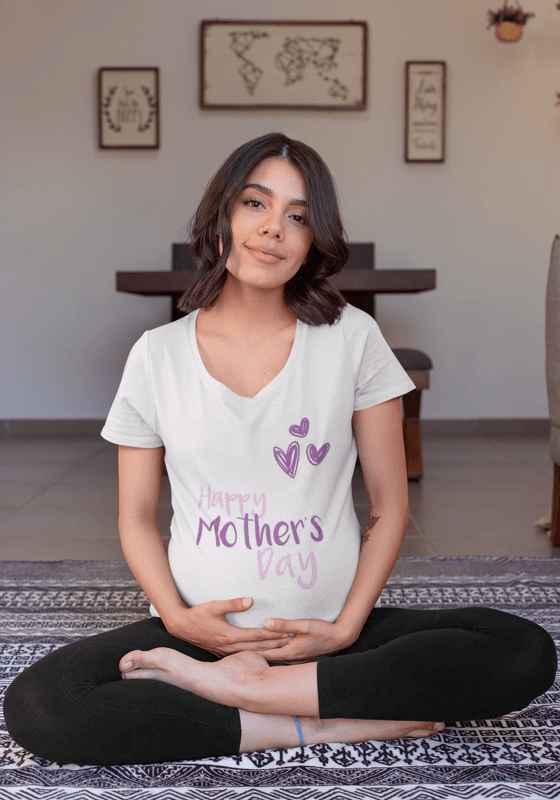 A Beautiful Pregnant Woman Wearing A V Neck Tee