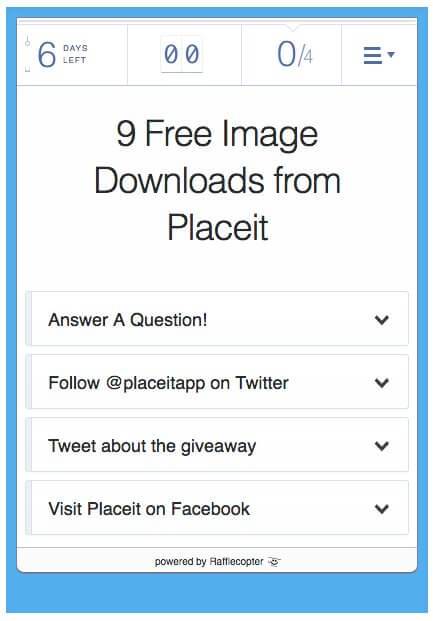 rafflecopter widget placeit