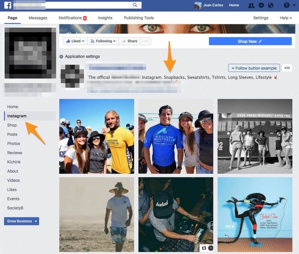 how to add instagram to website page
