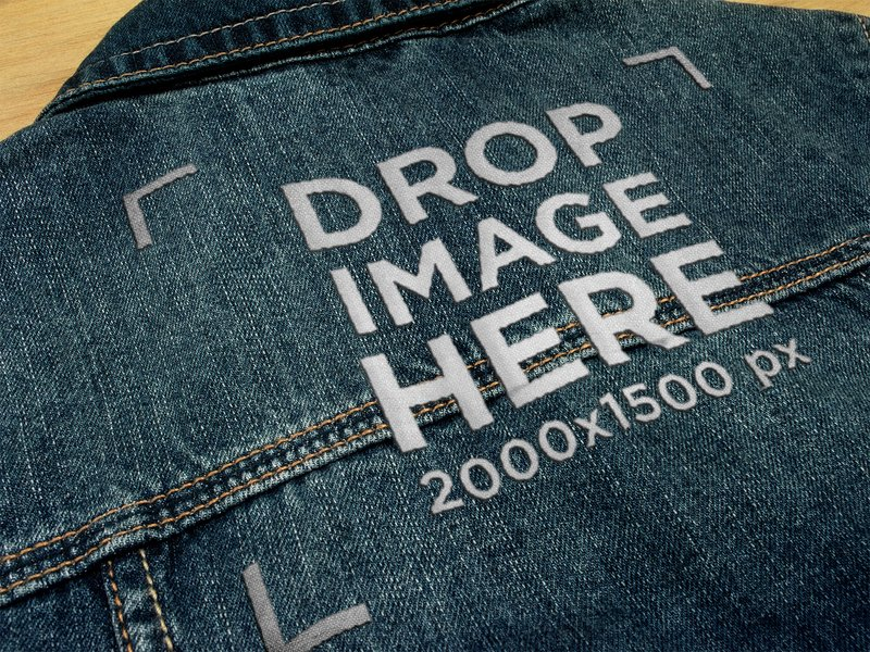 EMBROIDERY LOGO ON THE BACK OF A DENIM JACKET TEXTURE TEMPLATE