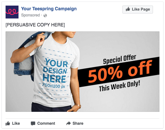 teespring facebook ad template