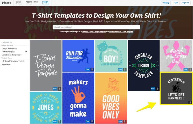 t-shirt templates to choose from