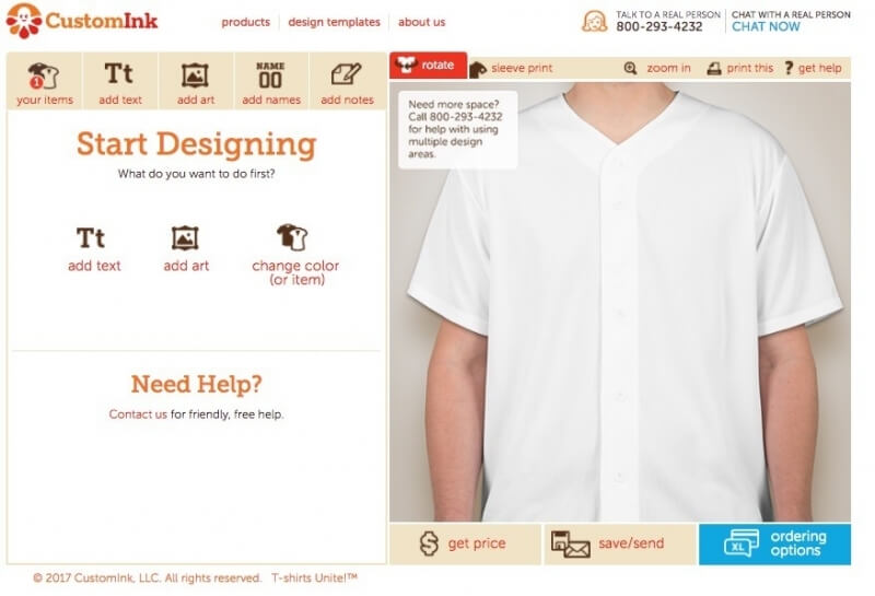 Customink customziation page