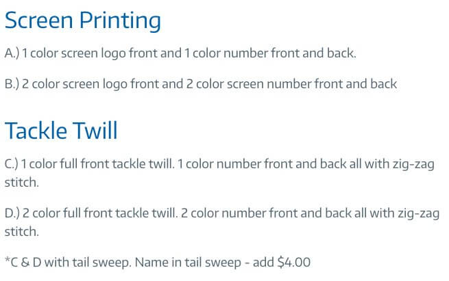 The graphic edge printing options