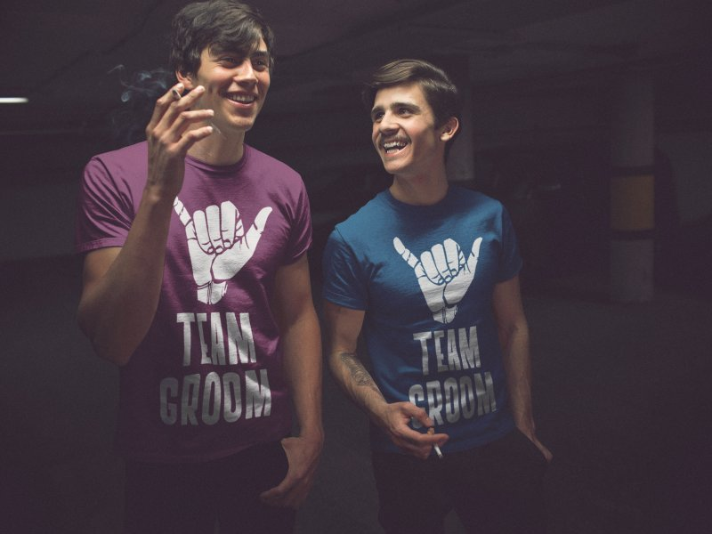 Two friends wearing bachelor party t-shirts mockup