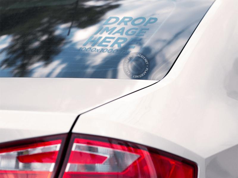 window decal mockup on car
