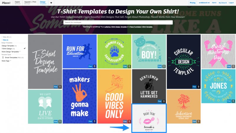 T-shirt templates index page