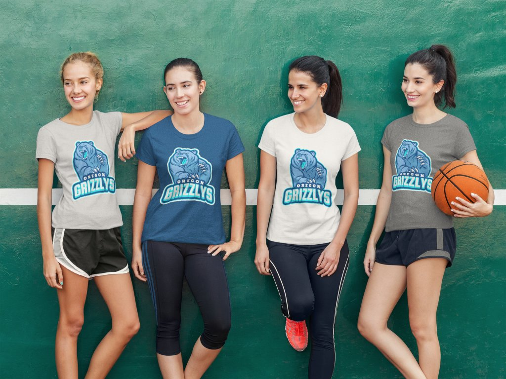 eb1e5b7f9 T-Shirt Mockup of a Group of Girls Playing Basketball by Placeit ...