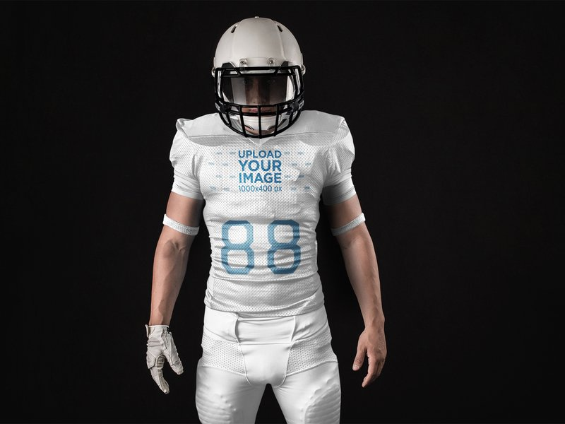 42ceb7ce5038 Showcase your brand new uniform design in this completely customizable  football jersey generator. Change the colors of the facemask to the pants  and arm ...