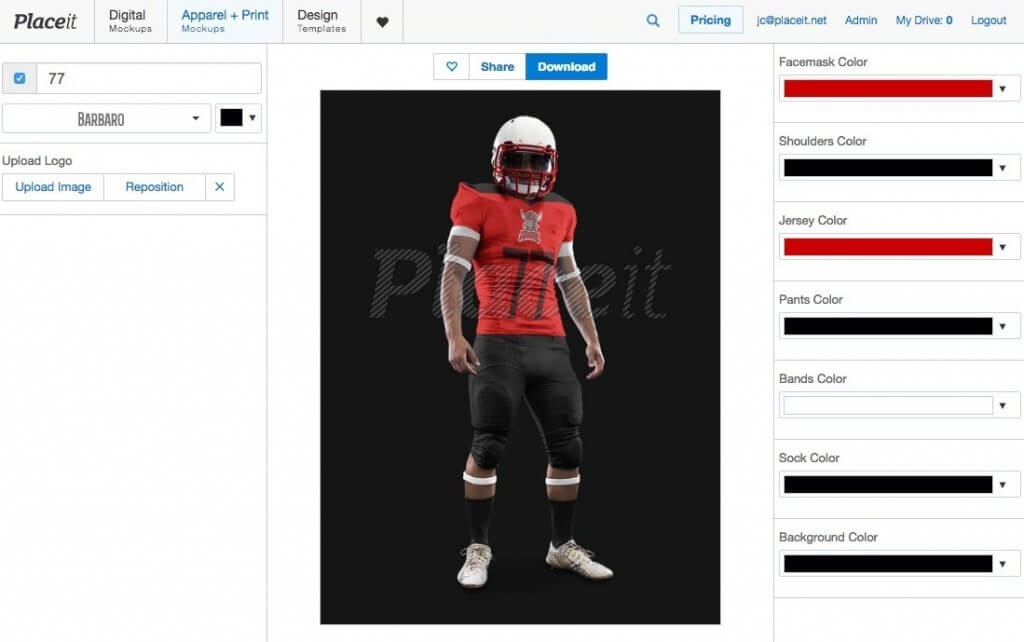 placeit football uniform builder