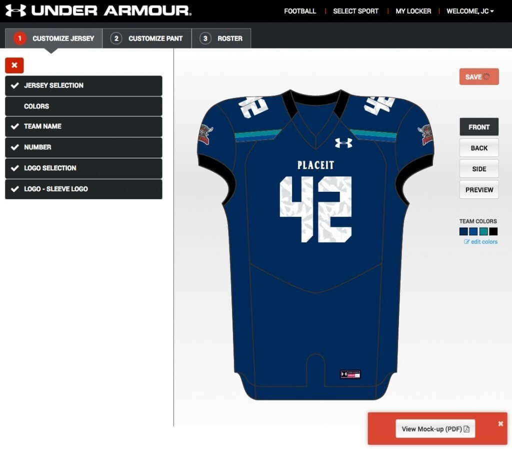 under armour football uniform builder