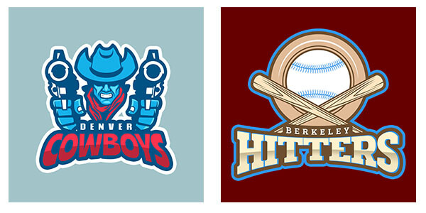 Sports logo maker samples - cowboys and baseball plus bats logo