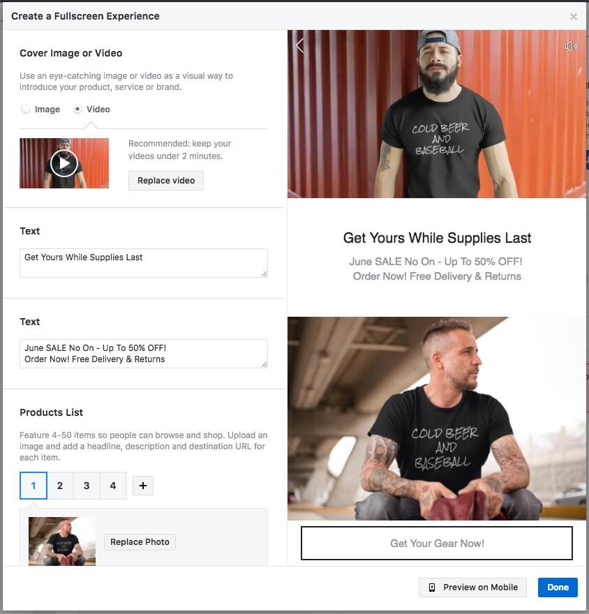 facebook ads carousel ad format to boost t-shirt sales
