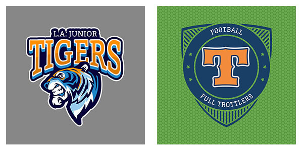 sports logo maker samples, tigers and letter badge