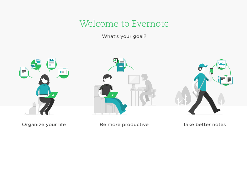 Evernote intro screen