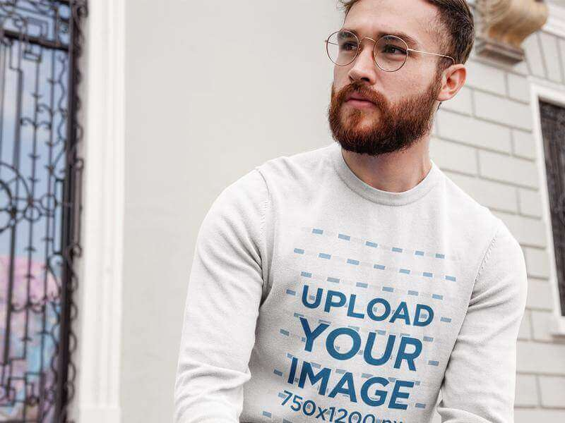crewneck mockup of a hipster man