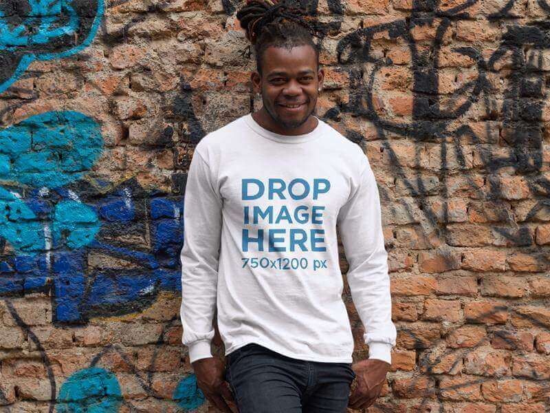 crewneck mockup of a young man with dreadlocks