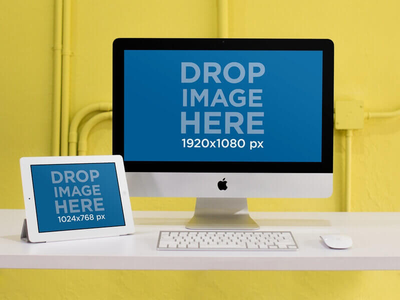 iMac Mockup Yellow Wall