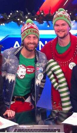 Chris Boyd and Jordan Birch wearing ugly christmas sweaters