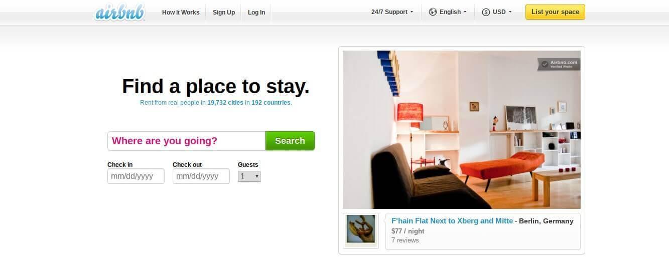 airbnb homepage 2009