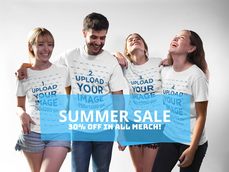 Facebook Ad - Group of Four Happy Friends Wearing Different Tshirts