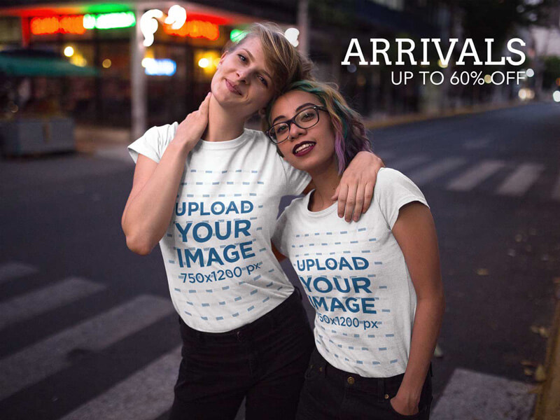 Twitter Ad - Two Girlfriends Wearing T-Shirts on the Street