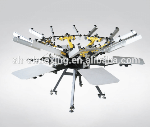 Manual carousel textile screen printing machine