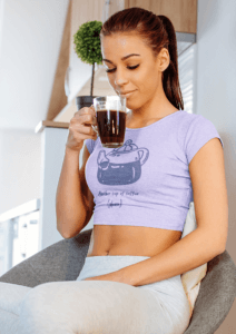 Crop Top Tee Mockup Of A Woman Drinking A Coffee At Home 34017 R El2