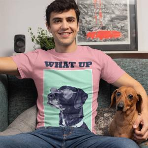 T Shirt Mockup Of A Man In The Living Room With His Dog 30680