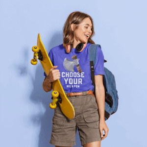 Tee Mockup Of A Joyful Woman Holding A Skateboard