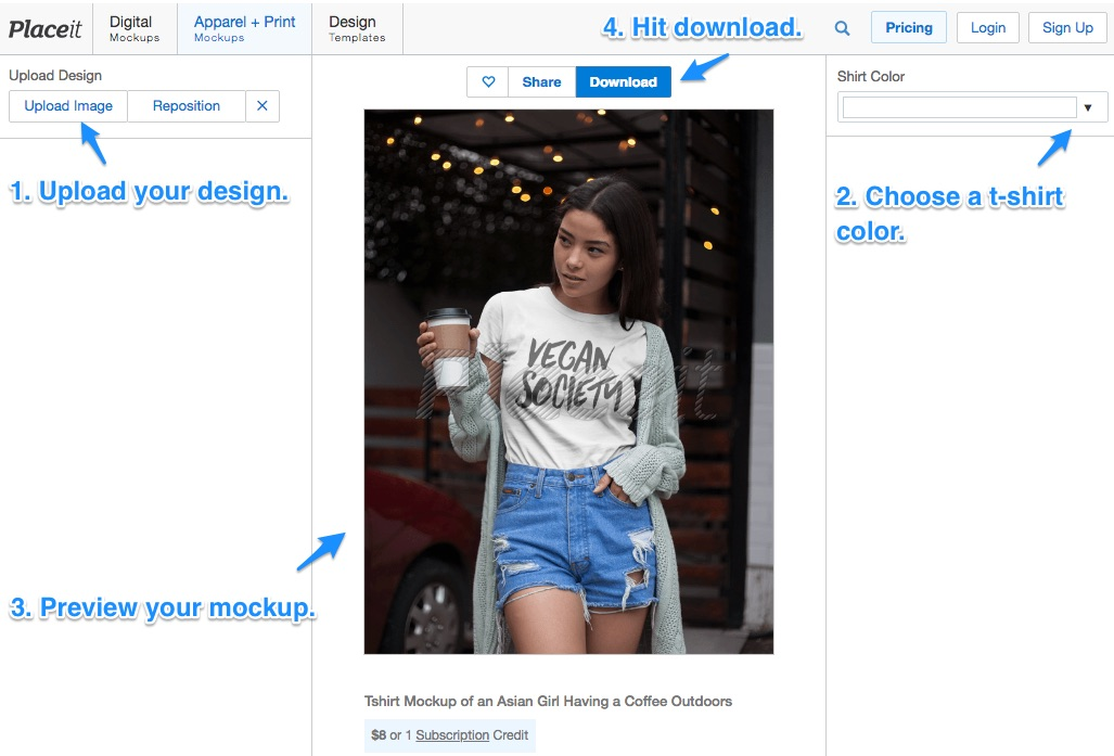 how to create a t-shirt mockup process placeit