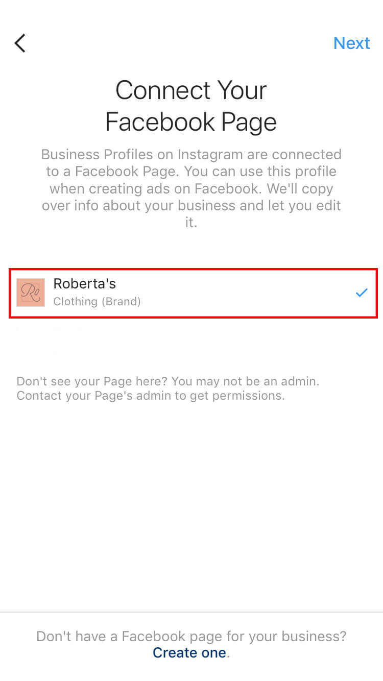 Select the Facebook page you want it to be linked to.