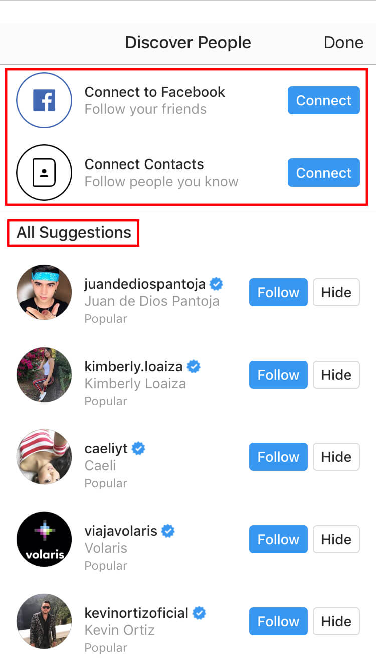 Start adding friends from Facebook, your contacts, or from Instagram's suggested users.