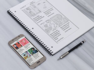 Samsung Galaxy S6 Mockup Lying Next To A Wireframe Notebook2