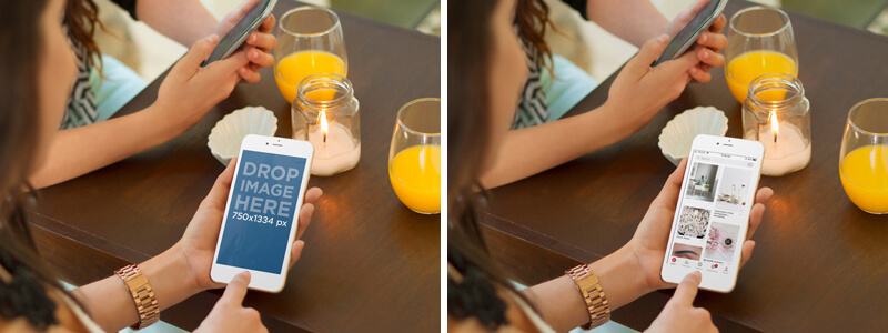 Iphone 6 Gold Mockup Of Girls Chatting While Eating Out