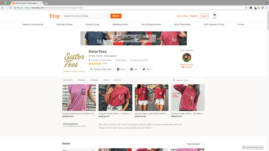 Etsy Shop With a Banner